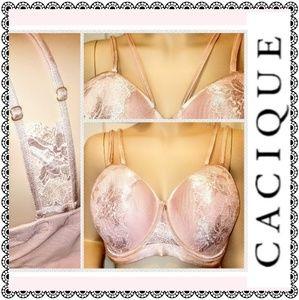 {Cacique} underwire bra, strappy pink lace, 40DDD